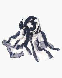 """Ida Scarf.  Need a little excitement in your life? Throw-on this lightweight scarf with wide colorblocked stripes. The geometric pattern is clean and commanding at once. Dimensions: 24"""" x 72"""". Rayon. Hand wash."""