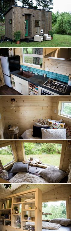 From Portland, Oregon-based Tiny Heirloom is the Apothecary. The tiny home features an inverted loft with main floor bedroom and an upstairs living room with extra headroom. Tyni House, Tiny House Living, Home Living Room, Tiny House Plans, Tiny House On Wheels, Tiny House Design, Little Houses, Future House, Small Spaces