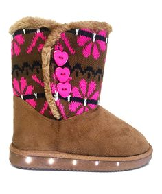 Another great find on #zulily! Chulis Footwear Camel & Pink LED Light Knit Boot by Chulis Footwear #zulilyfinds
