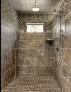 Bathroom Designs: Classic Shower Tile Ideas Small Window Metalic Head Shower, Shower Cabin, ceramic tile shower ideas ~ Gnibo.com