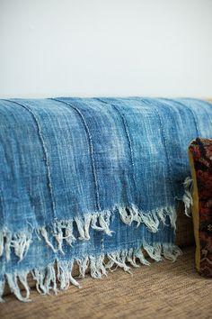Vintage Denim Batik Throw - Old New House® Darning, Vintage Denim, Beautiful Hands, Hand Weaving, New Homes, Textiles, Throw Pillows, Sewing, Repurposed