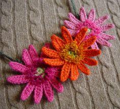 crocheted gerbera