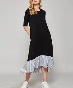 Black Ruffle Hi-Low Dress