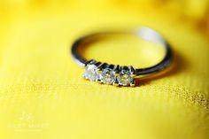 My engagement ring, 3 diamonds, white gold, dainty :)