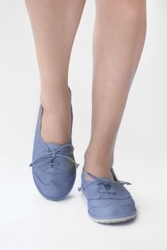 7a9508e08fd The Drifter Leather handmade shoes — Soft Oxfords - Lavender Blue Flats