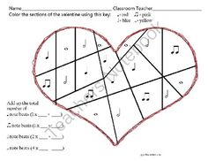 FREE Valentine Beats worksheet from Miss Barker's Musical Materials on TeachersNotebook.com -  (1 page)  - Need a worksheet to reinforce basic note values? This page is in PDF format, and free for your classes. A quick download for your younger students, or later beginners. Includes quarter, half, paired eighth and whole notes.