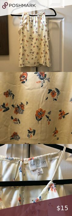 Francescas floral tank✨ Soft floral tank Beautiful pale yellow with orange and blue detail flowers Ruffle detailing on front   NWT Tops Tank Tops Orange, Yellow, Blue, Top Colour, Tank Tops, Detail, Floral, Flowers, Closet