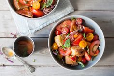 This Tuscan summer salad is packed with flavour - using stale bread to soak up all the ripe tomato juices. Try our recipe for Panzanella salad. Panzella Salad, List Of Salads, Recipe Using Tomatoes, Main Course Dishes, Veg Dishes, Vegetable Salad, Summer Salads, Main Meals, Summer Recipes