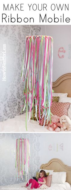 DIY ribbon mobile - I might call it something less baby-ish! My big girl would love this in her room too! It would be so sweet to add in some little charms or vintage crystals. Home Projects, Craft Projects, Projects To Try, Diy Ribbon, Ribbon Crafts, Ribbon Projects, Deco Dyi, Ribbon Mobile, Diy Luminaire
