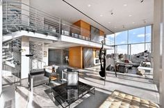 The glass cube penthouse sits atop a historic Art Deco loft building in Manhattan's Tribeca neighborhood and is wrapped with a private terrace. New York Penthouse, Duplex New York, New Yorker Loft, Penthouse Apartment, Luxury Penthouse, Manhattan Apartment, Dream Apartment, House Doctor, Muuto