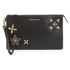 Women's Michael Michael Kors Daniela Wristlet (200 CAD) ❤ liked on Polyvore featuring bags, handbags, clutches, wristlet purse, michael michael kors, embellished purses, floral wristlet and flower print handbags