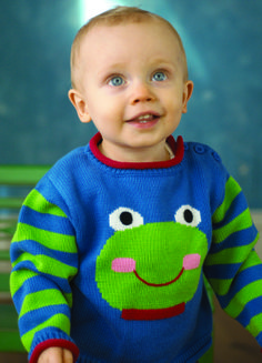 Zu-per Freddy intarsia sweater! Don't forget to check out the matching hat and knit doll! Visit www.zubels.com for more products and information.