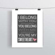 The Lumineers Print - Song Lyric Art - Typographic Print - Subway Poster - Romantic Print - Sweetheart Poster