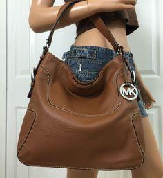 Michael Kors Large Leather Hobo Shoulder Tote Bag Purse Brown Handbag  #MichaelKors #ShoulderBag