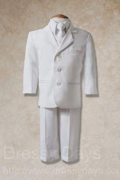 Boy's Baptism Suit - White - White