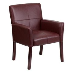 Flash Furniture Burgundy Leather Executive Side Chair or Reception Chair with Mahogany Legs BT-353-BURG-GG