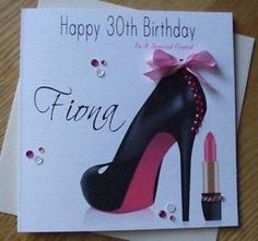 handmade+bow+and+shoe+card   Details about Personalised Handmade Shoe Birthday Card 30 40 50