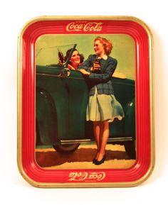 Coca-Cola Tray Two Girls at Car 1942