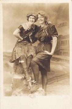 Boardwalk Beauties- Atlantic City, N.J.- Edwardian Swimwear- 1910s Vintage Photograph- RPPC. $25.00, via Etsy.