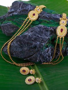 Traditional Haaram Jewellery Set with Pink Stones