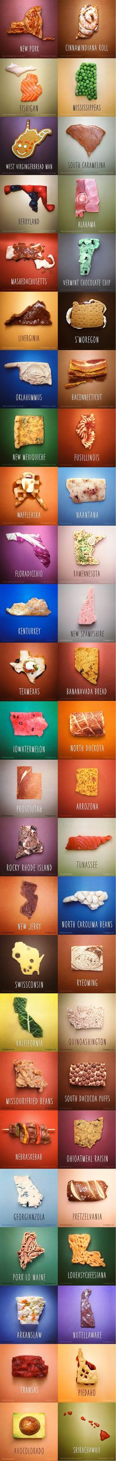 All 50 States Reimagined as Food Puns  http://lolsalot.com/all-50-states-reimagined-as-food-puns-3/  #Funny #Pic
