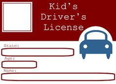 Free Printables - Driver's License For Kids