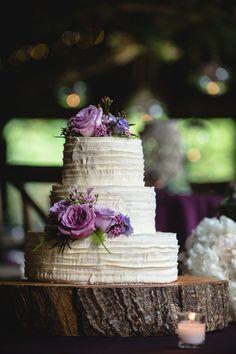 Simple and Elegant Purple Wedding Cake   A Purple Rustic Elegant Asheville Wedding via TheELD.com   Two Ring Studios