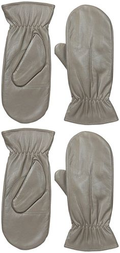 Gloves International Women's Leather Mittens with Faux Fur Lining, Medium Grey, X-Large