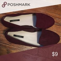 Brand new burgundy flats Brand new, never been worn, tags are gone but still in great condition !! Willing too discuss price. Forever 21 Shoes Flats & Loafers