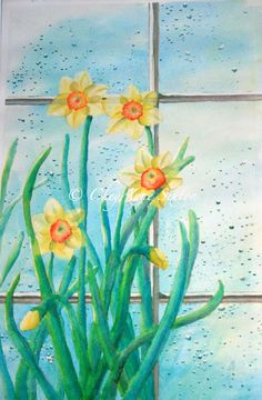 flower art Rainy Day Daffodil Flowers yellow by CheyAnneSexton