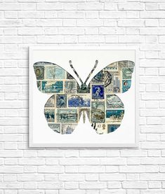 Rare Stamps, Postage Stamp Art, Vintage Love, Kit, Repurposed, Gallery Wall, Butterfly, Diy Crafts, Scrapbook