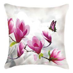 3D point de croix canapé taie d'oreiller, Papillons aiment magnolia, 48 * 48 cm, Broderie kit, Cadeau unique, Articles innovants, Accueil jardin, Artisanat(China (Mainland))