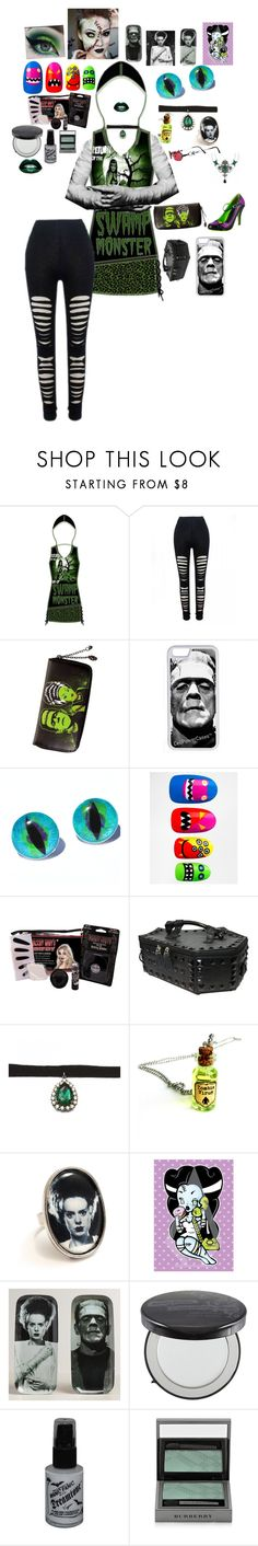 """frankenstein's daughter lives"" by blu3k1tty ❤ liked on Polyvore featuring CellPowerCases, eylure, Kreepsville 666, Zara Taylor, Universal Studios, Cost Plus World Market, Manic Panic NYC and Burberry"