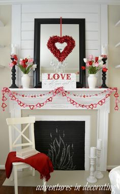 Adventures in Decorating: Our Sitting Room Valentine Mantel-I'm not decorating for Valentine's but this is so cute!