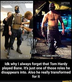 Also he really transformed for it - Idk why I always forget that Tom Hardy played Bane. Also he really transformed for it - iFunny :) Funny Batman Memes, Childhood Movies, Bat Man, The Dark Knight Rises, Hard Truth, Funny As Hell, Dc Heroes, Nightwing, Tom Hardy