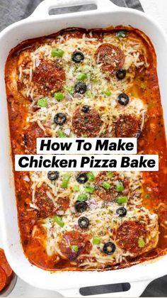Healthy Casserole Recipes, Keto Crockpot Recipes, Good Healthy Recipes, Chicken Recipes, Cooking Recipes, Casseroles Healthy, Pizza Ingredients, Quick Dinner Recipes, Easy Family Meals