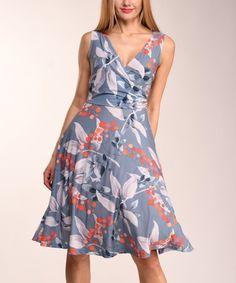 568c38c3ef Lbisse Blue Floral Sleeveless A-Line Dress - Women   Plus