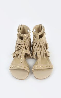 My two favorites in one pair of gladiator sandals, studs and fringe. | MakeMeChic.com