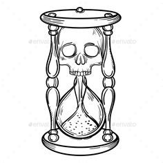 Decorative Antique Death Hourglass Illustration by. Decorative Antique Death Hourglass Illustration by vavavka Decorative antique death hourglass illustration with skull. Sketch for dotwork tattoo, hipster t-shirt desi Tattoo Outline Drawing, Tattoo Design Drawings, Skull Tattoo Design, Outline Drawings, Skull Tattoos, Body Art Tattoos, Card Tattoo Designs, Skull Hand Tattoo, Tattoo Ideas