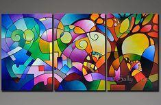 Ursprüngliche geometrische abstrakte Malerei Acryl-Malerei