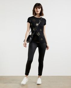 Star detail fitted tee - Black | Tops and T-shirts | Ted Baker ROW Sparkling Stars, Ted Baker Stores, Star Print, The Row, Black Tops, Black Jeans, Women Wear, Detail, Clothes For Women
