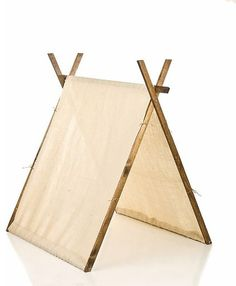 Burlap Children's Playroom Tent - $74.00 »  If you are short on space, this pop-up tent takes up less floor space than the traditional tepee and still gives your child the feeling of sleeping in a fort.