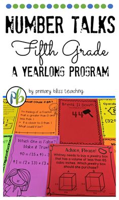 Are you looking for fifth grade number talk activities to get your students thinking and talking about math. If you are, check out this time saving yearlong program. Math Talk, Math 5, First Grade Lessons, Teaching First Grade, Fifth Grade Math, Fourth Grade, Homeschooling Resources, Math Resources, Teaching Tips