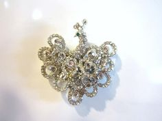 Clear Rhinestone Peacock Figural Brooch Magnet Super Strong Upcycled Vintage Jewelry Gift for Her Gift Under 10