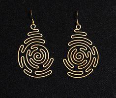 Labirinto a spirale filo avvolto orecchini in ottone