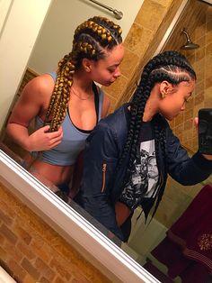 Goddess Braids / Jumbo Cornrows. Crystal and India Westbrooks http://www.shorthaircutsforblackwomen.com/african-hair-braiding/