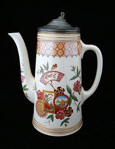 AESTHETIC MOVEMENT ERA TRANSFERWARE POLYCHROME COFFEE POT ALASKA PATTERN Hall and Read Potteries - Burslem, Staffordshire England - c. 1882 - This exquisite Victorian 9 1/2  tall v 7  wide coffee pot plate is transfer printed in brown with under the glaze hand painting in an array of brilliant colors. The pot is further enhanced with a hinged pewter lid and a Swan.