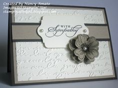 Sunday, July 21, 2013    RemARKable Stampers Best of 25 Years Blog Tour: Best of Greetings | The flowers were stamped in Early Espresso ink on Crumb Cake card stock and then punched out with the Perfect Pansy punch.  I layered two flowers together as an embellishment for the front of the card and added a Basic Pearl in the center.
