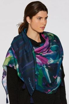Hibiscus at Night Signature Scarf by Claire Desjardins. #clairedesjardins #clairedesjardinsart #ClaireDesjardinsApparel #DesignerJacket #JeanJacket #cami #WomensApparel #WearableArt #designerclothing #apparel #designerapparel #artandfashion #fashionandclothing #artonclothing #abstractart #abstractpainting #designerclothes #womensapparel #Tunic #Dress #Jacket #MotoJacket #WomensTop #Scarf #Dress