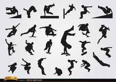 Set of parkour and skateboarding silhouettes. These are perfect vector silhouettes for using in promos, articles, ads, and more material related to these awesome extreme sports. High quality JPG included. Under Commons 4.0. Attribution License.